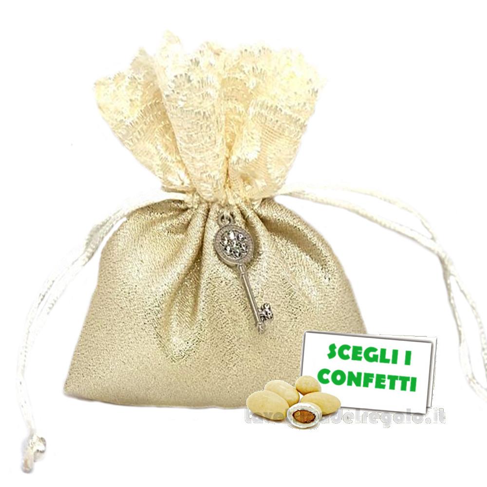 Portaconfetti Oro con chiave 50° Anniversario 10x12 cm - Sacchetti nozze d'oro