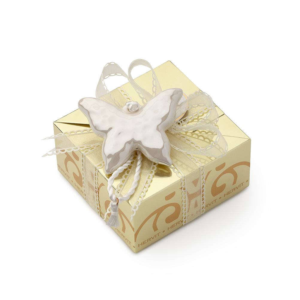 HERVIT - BOX CARAT GOLD 11X11X5,5CM CON FARF. PORC. BIANCA