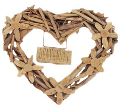 Ghirlanda grande cuore in legno Benvenuti