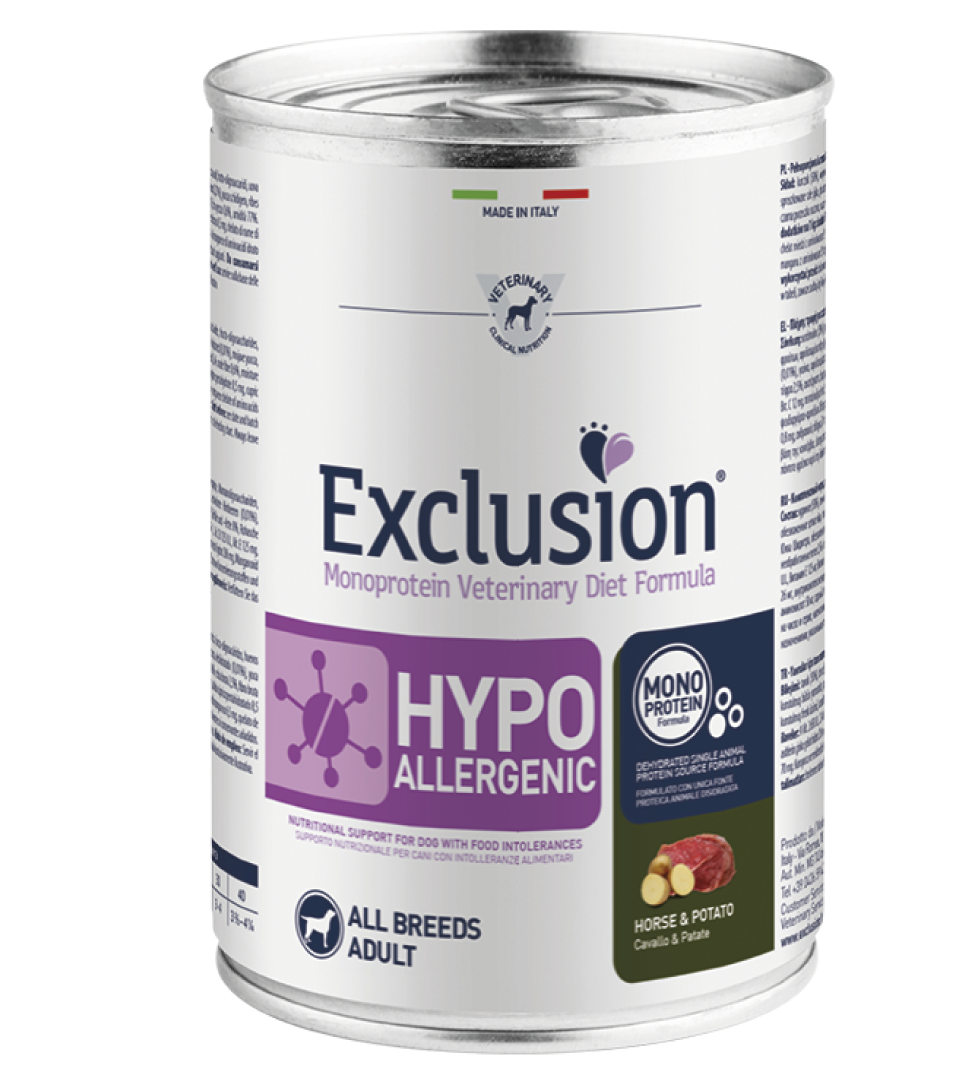 Exclusion - Veterinary Diet Canine - Hypoallergenic - Cavallo e Patate - 400g x 12 lattine