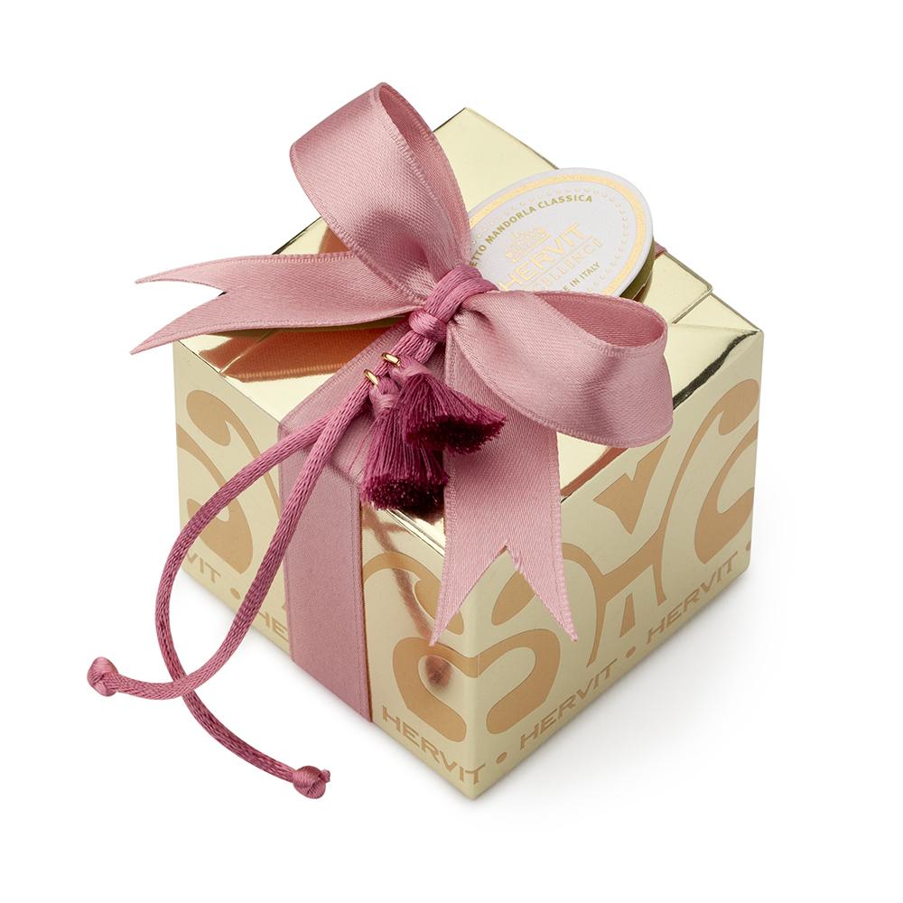 HERVIT - BOX CARAT GOLD 6X6X5,5CM 2 NAPPE MALVA C/5 CONFETTI IMBUSTATI