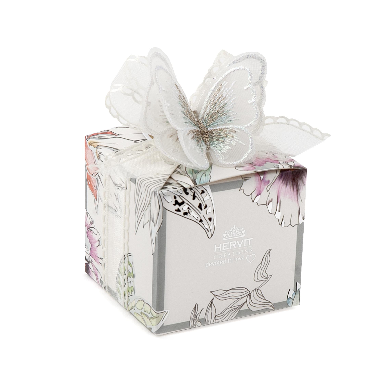 HERVIT - BOX BLOOMS 6X6X5,5CM FARFALLA BIANCA