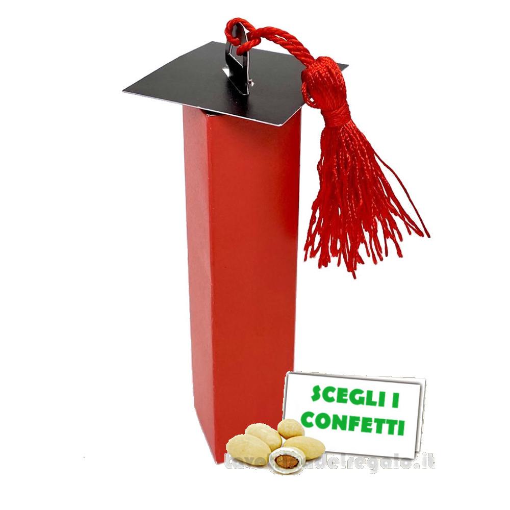 Portaconfetti Rosso e Nero con nappina per Laurea 2.5x11.5 cm - Scatole laurea