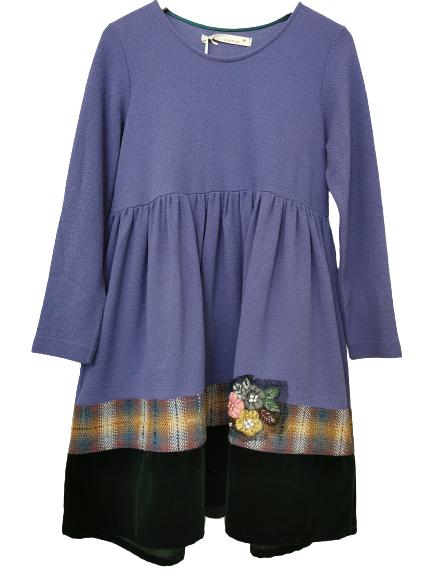 Abito donna | lilla | glicine | crèpe di lana | manica lunga | dettaglio scozzese | bordo velluto liscio verdone | Made in Italy