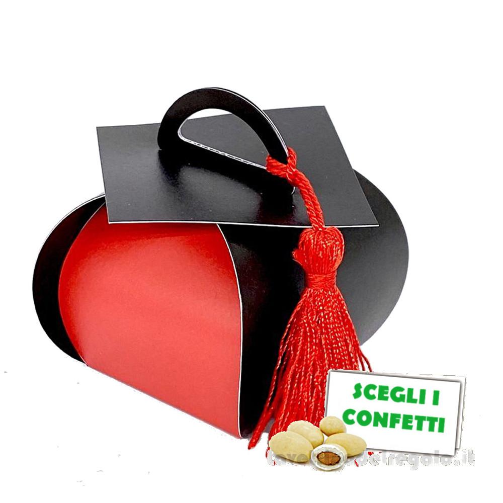Portaconfetti cesto Rosso e Nero con nappina 5x5x5 cm - Scatole laurea