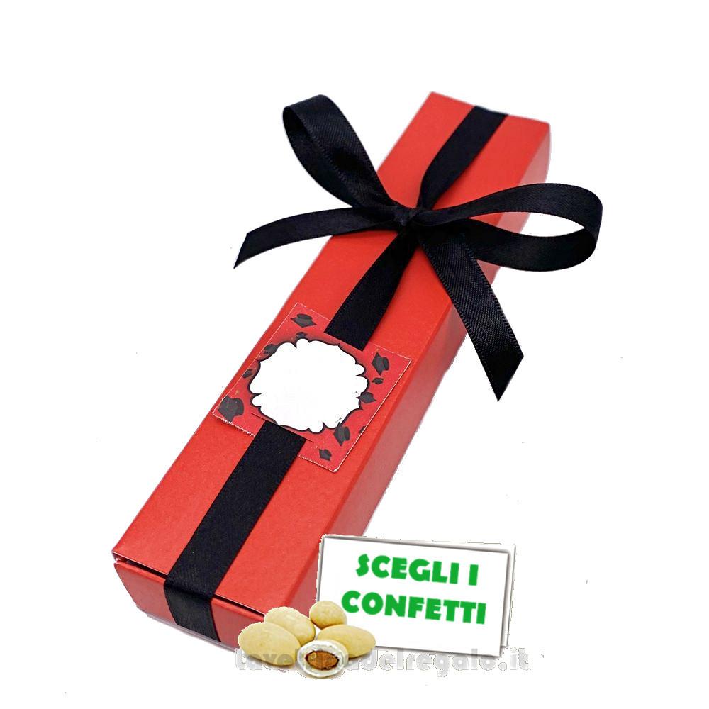 Portaconfetti fiammifero Rosso e Nero con targhetta 17x3.5x2 cm - Scatole laurea