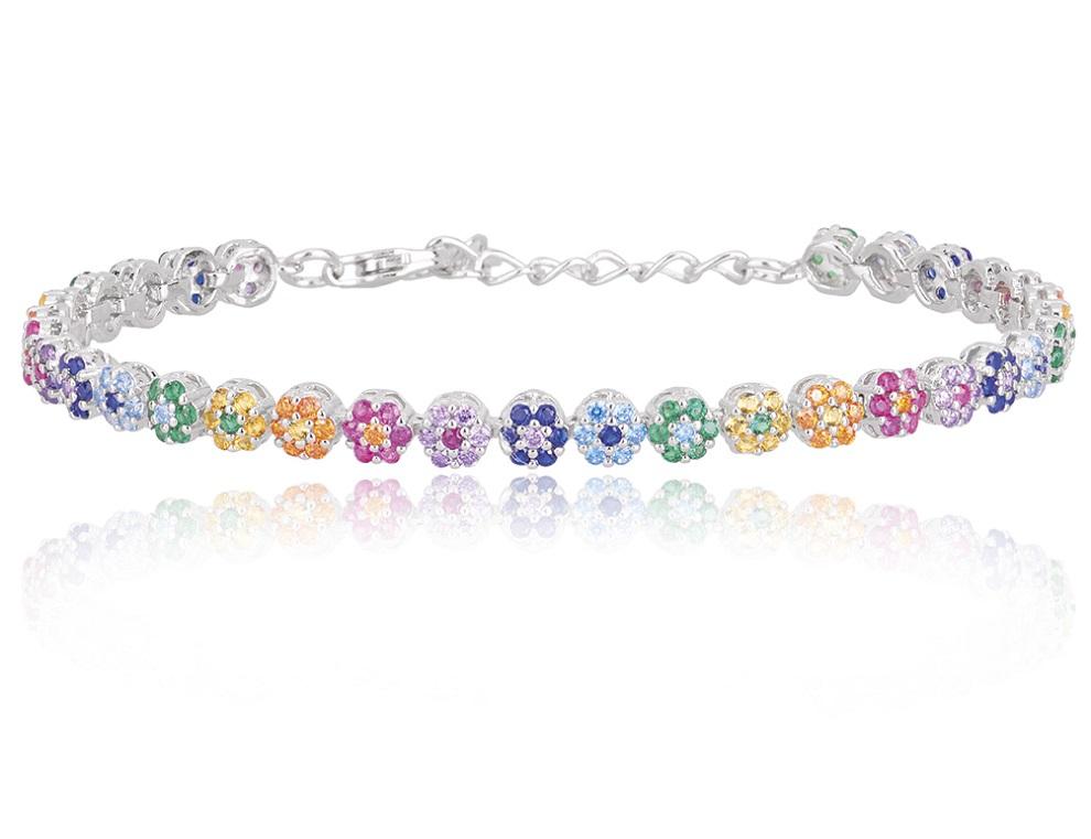 Mabina Bracciale Argento - Fiori Multicolor