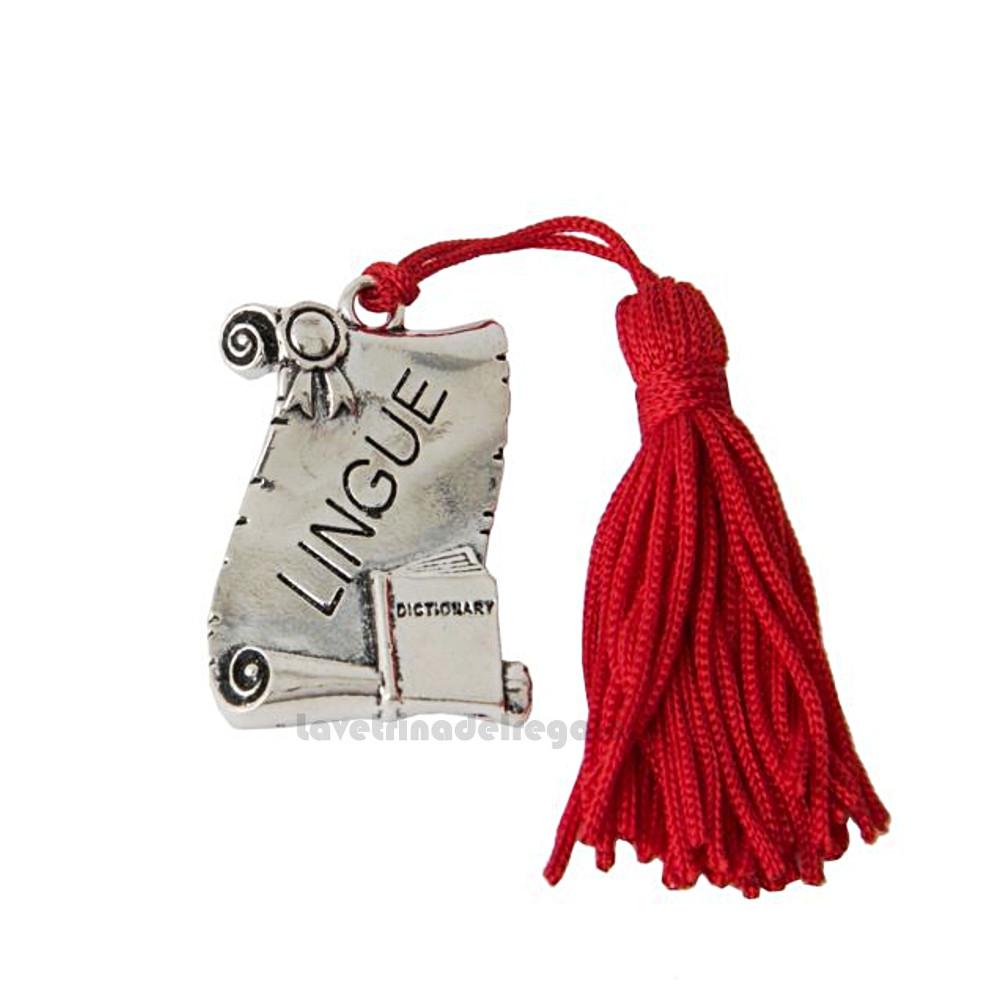 Ciondolo laureato in Lingue con nappina 4x3 cm - Decorazioni laurea