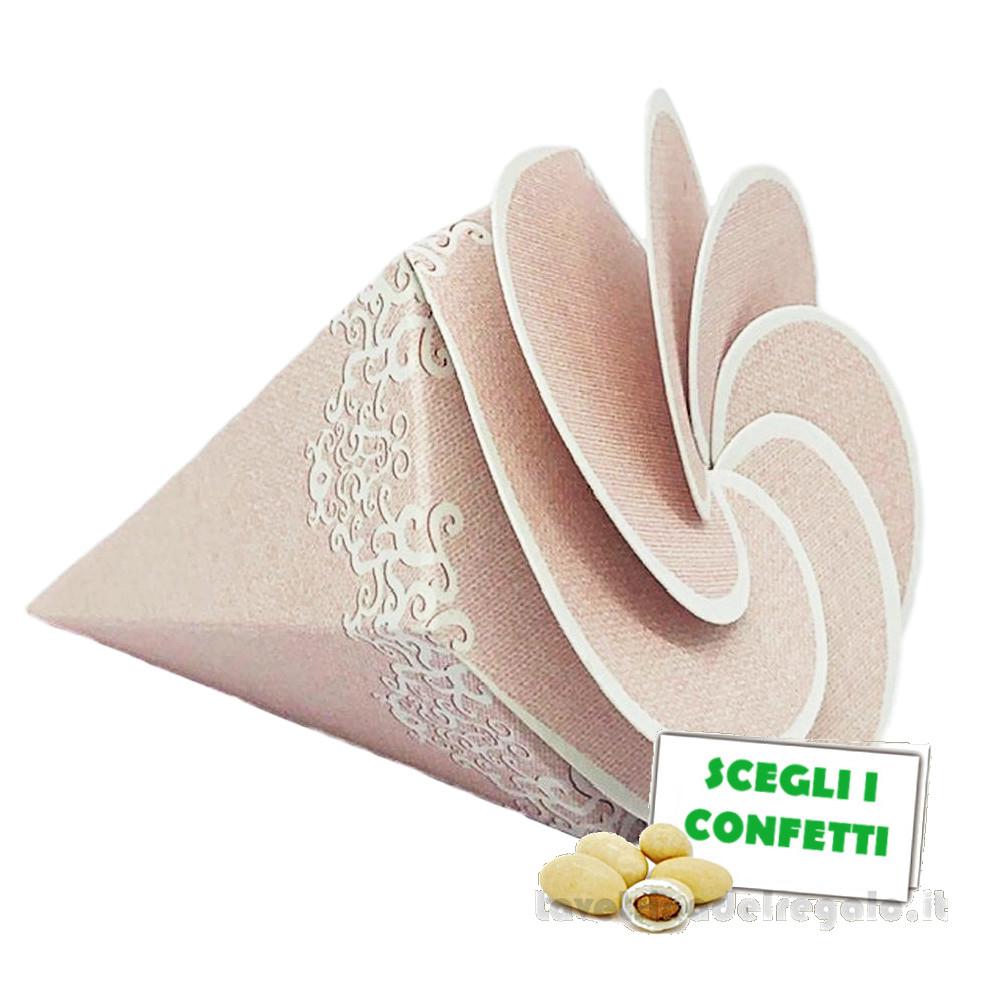 Portaconfetti Chantal Rosa cono a spirale 8 cm - Scatole matrimonio