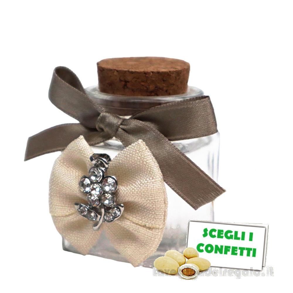 Barattolino portaconfetti Tortora con fiocco e fiore strass 4x4x6 cm - Contenitori matrimonio