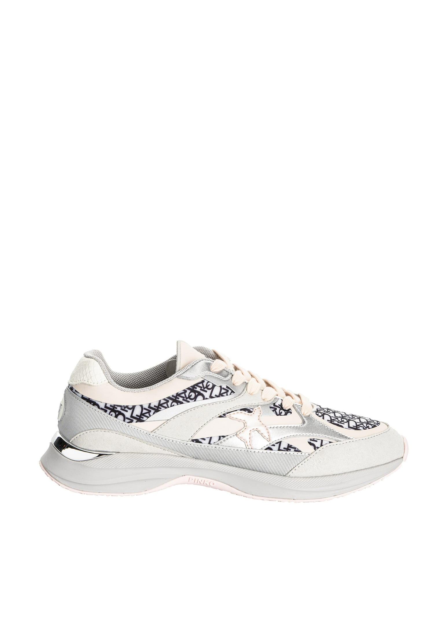 Sneakers Lightech microfibra bianco nero Pinko
