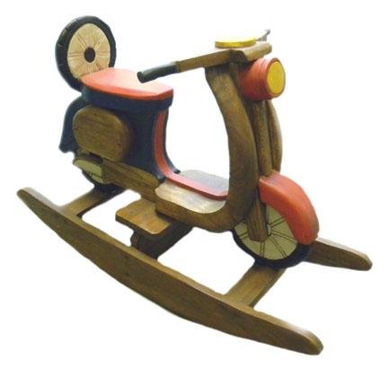 Moto a dondolo legno colorato cm 100