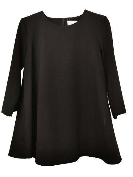 Maxi maglia donna nera , tessuto Punto Milano | manica lunga | svasata al fondo con piccola cerniera posteriore |Made in Italy  |