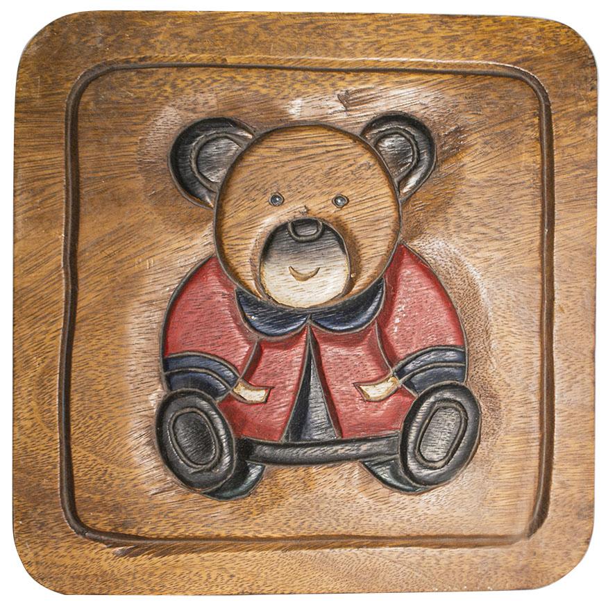 Sgabello in legno quadrato con orso