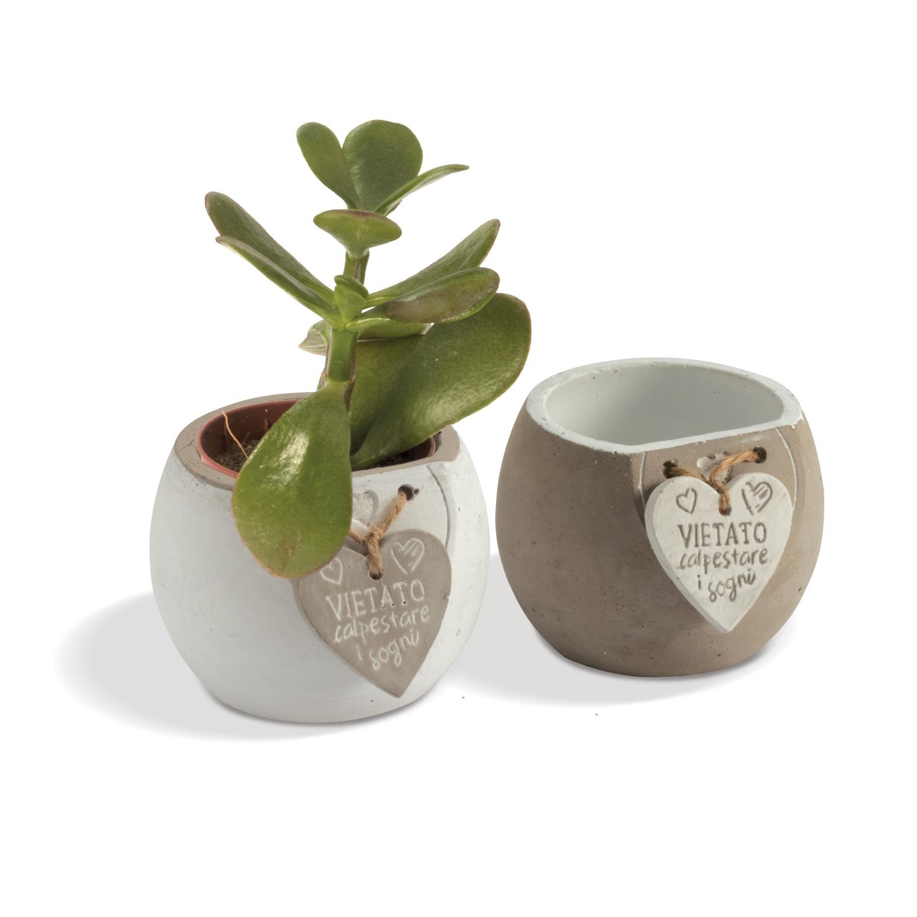Quadrifoglio - collezione Clizia, p/piante con cuore pendente e frase