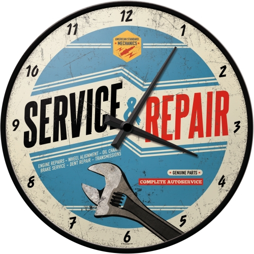 Orologio Service&Repair metallo e vetro cm 31