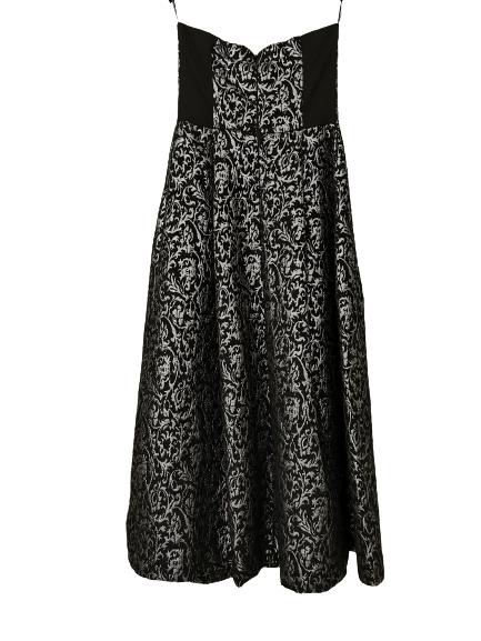 Abito donna lungo | in tessuto damascato| grigio e nero senza spalline | con tasche laterali | Made in Italy