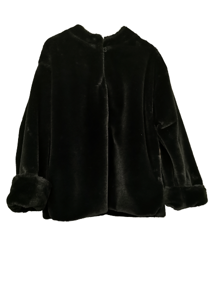 Giacca donna in ecopelliccia nera | manica larga con risvolto | scollo tondo | chiusura con alamari | interno in raso viola | Made in Italy