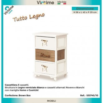 Cassettiera 3 Cassetti BIanca Home 33740/10