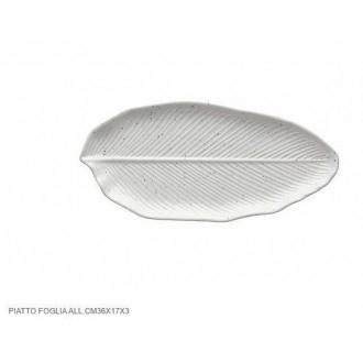 Tognana Piatto a Forma di Foglia Di Alloro Bianco 36x17x3 cm Decorato Piatto per Portata Cucina