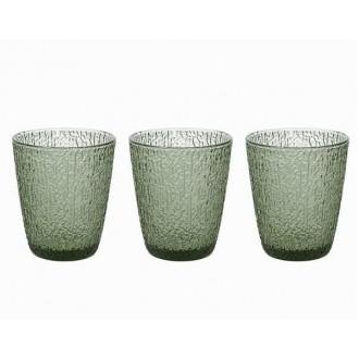 Tognana Davor Verde 3 Bicchieri Da Acqua Ricamato In Vetro 280 cc Per La Tavola Cucina