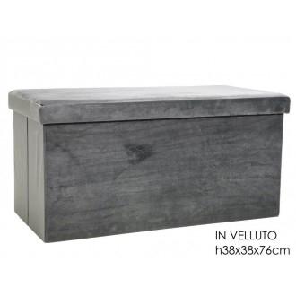 General Trade Pouf Richiudibile con Contenitore Salvaspazio Colore Grigio 76x38 cm In Velluto