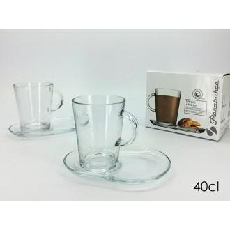 General Trade Set Due Tazze in Vetro Trasparente da The o Latte Con Piattino Coordianato Trasparente