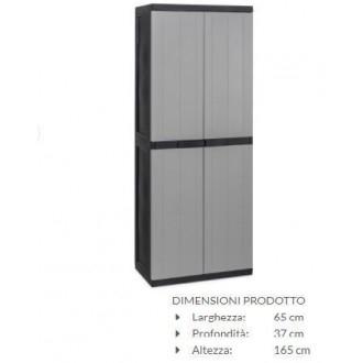 Armadio Bios Midi Portascope in Plastica Mobile Esterno 6 Ripiani 165x65x37cm Per Organizzare Casa