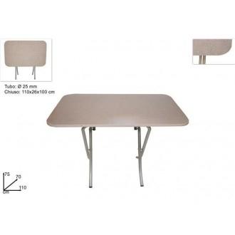 Due Esse Tavolo Richiudibile Colore Beige 70x110 cm Con Piedi in Metallo Multiuso Color Faggio