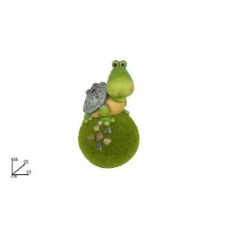 Due Esse Tartaruga Su Palla Decorazione Da Giardino Verde con Dettagli Tartaruga e Palla da Giardino Decorare il Giardino