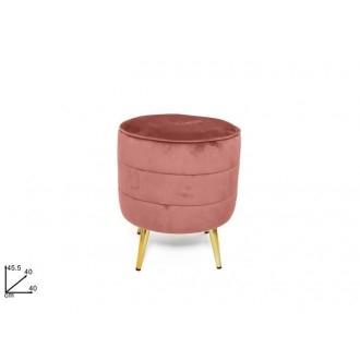 Due Esse Pouf In Velluto Rosa 40 dm Con 4 Piedi Appoggio In Oro Metallo Da Arredo Casa