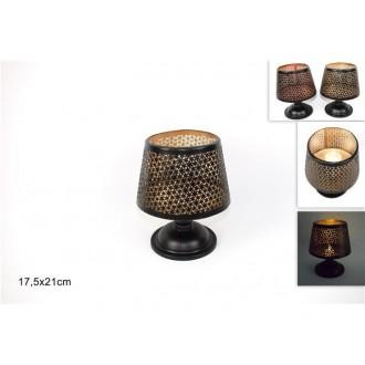 Due Esse Lume Per Camera da Letto e Soggiorno Porta Candela 21 cm Marrone Scuro Nero Con Decorazioni e Ricami Elegante