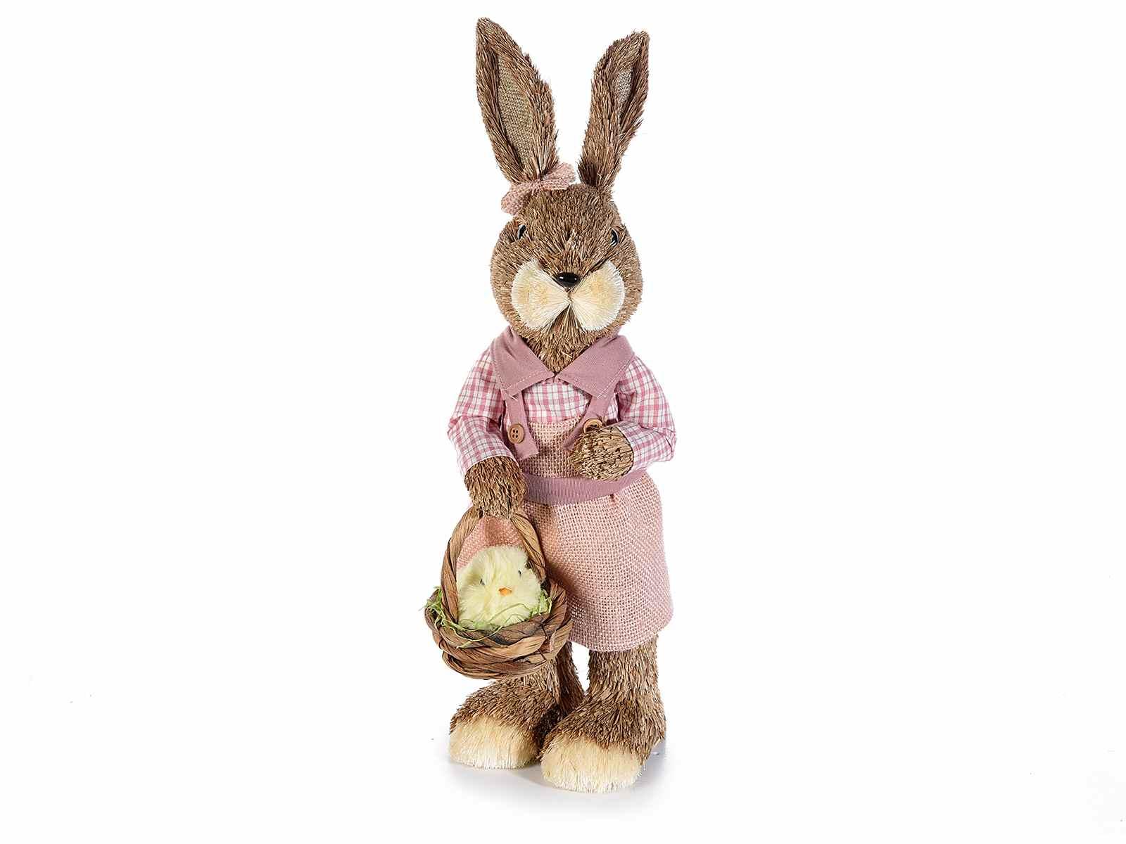 Coniglio campagnolo in fibra naturale da appoggiare