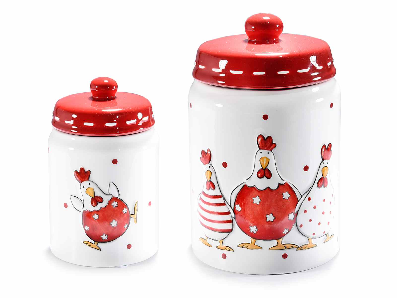 Set 2 barattoli in ceramica con decoro galline in rilievo