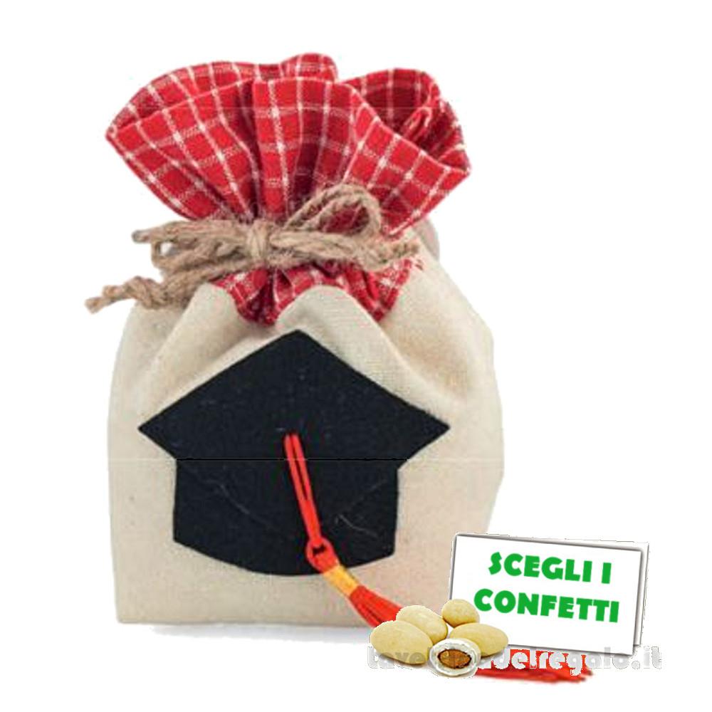 Portaconfetti tondo Rosso con Tocco Nero 6x6x12 cm - Sacchetti laurea