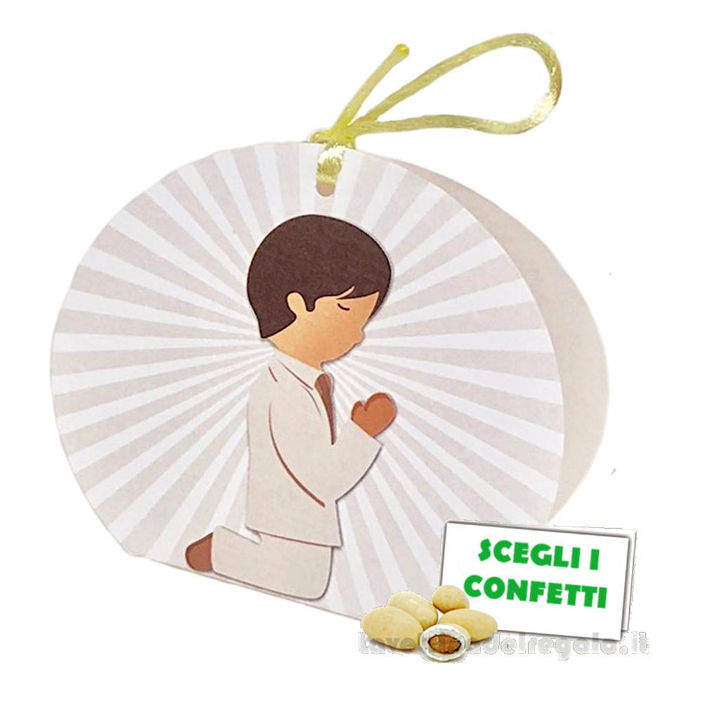 Portaconfetti rotondo con Bambino 6x4x9 cm - Scatole comunione bimbo