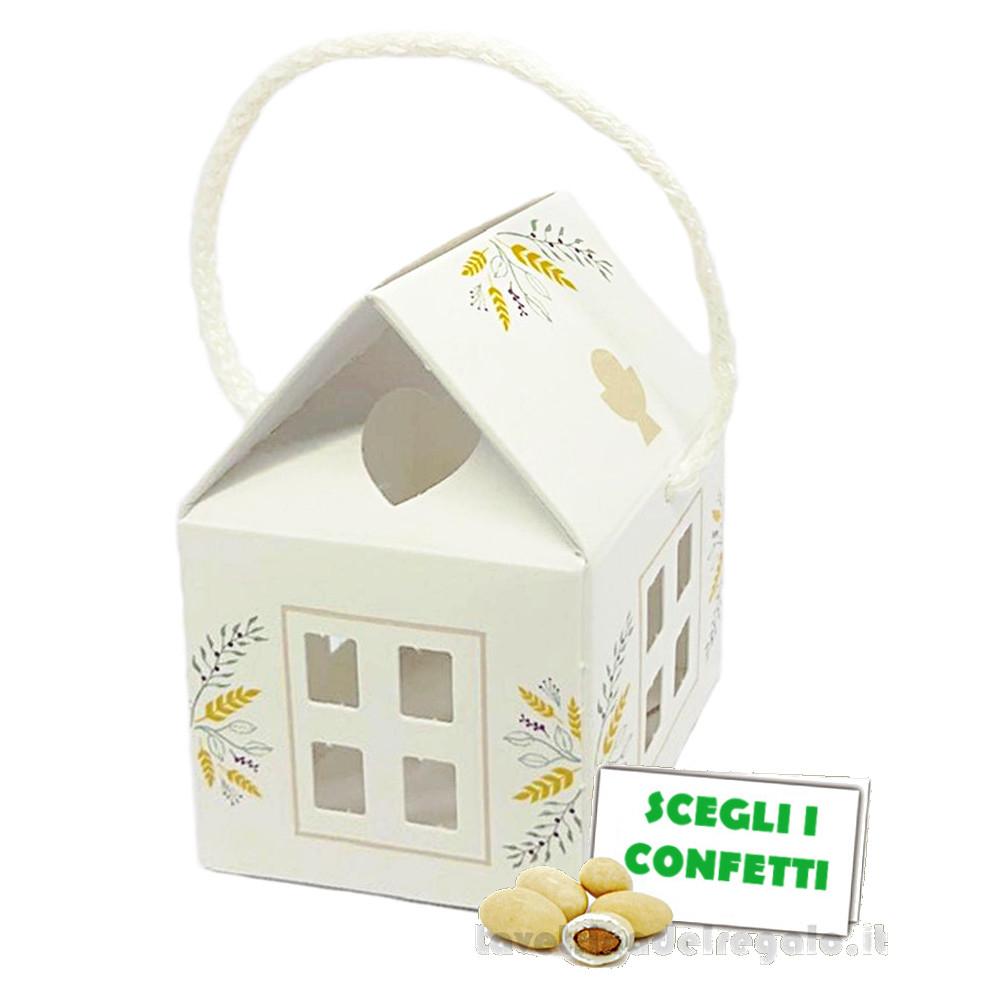 Portaconfetti Casetta Bianca con cordoncino 5.5x5.5x5 cm - Scatole comunione