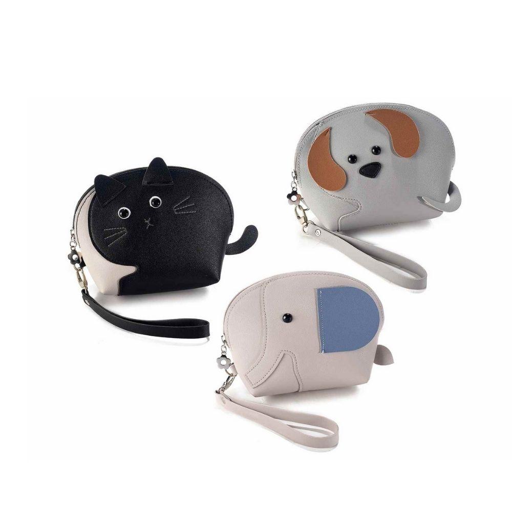 Pochette portamonete animaletto in similpelle con polsiera
