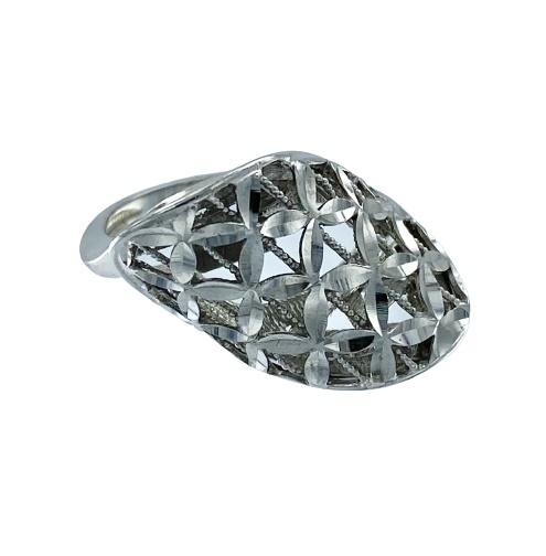 Moderno anello Ungari a fascia in oro bianco 18kt  lucido e satinato