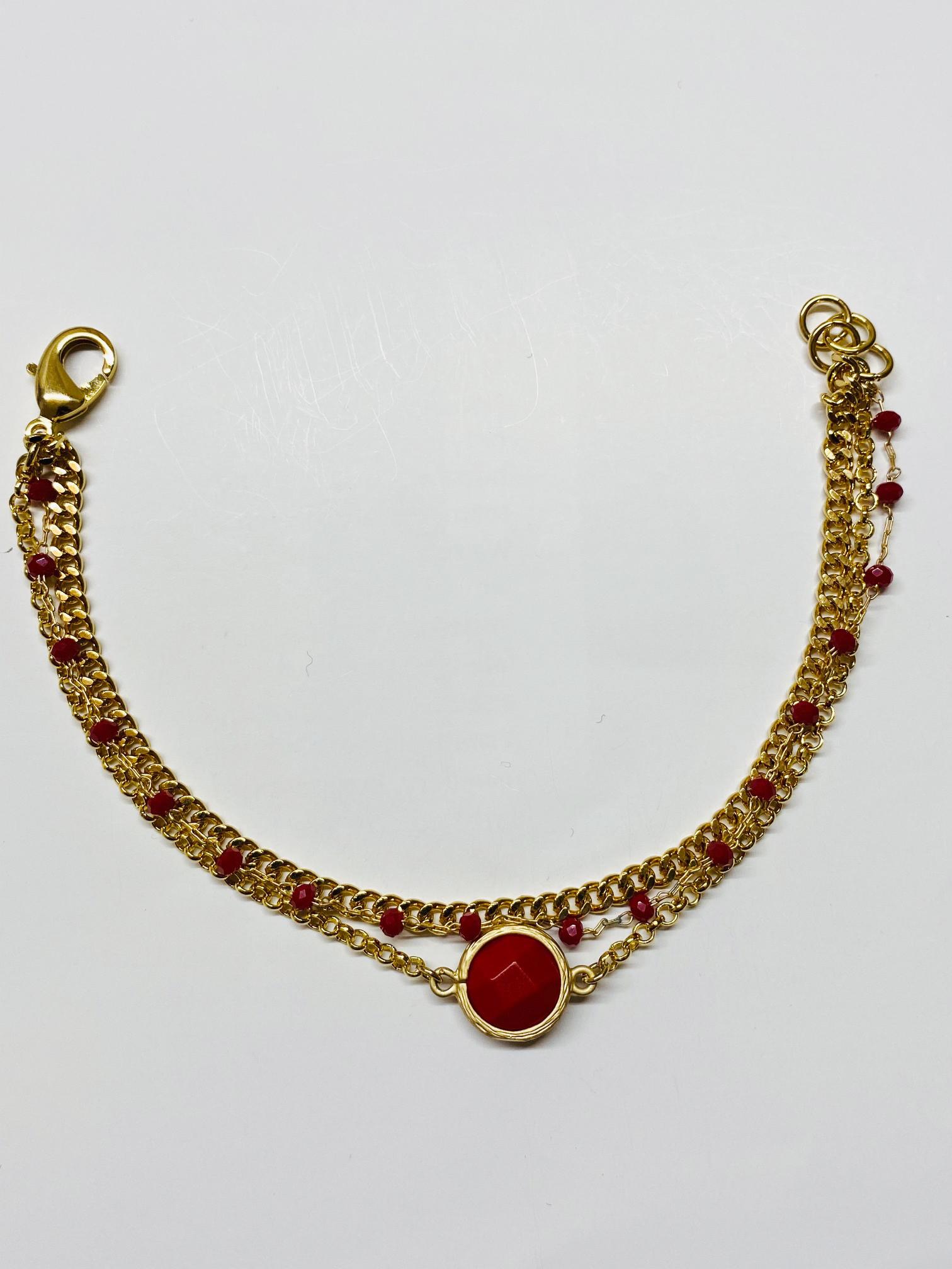 Bracciale in ottone galvanizzato , microcristalli rossi e pietra rossa
