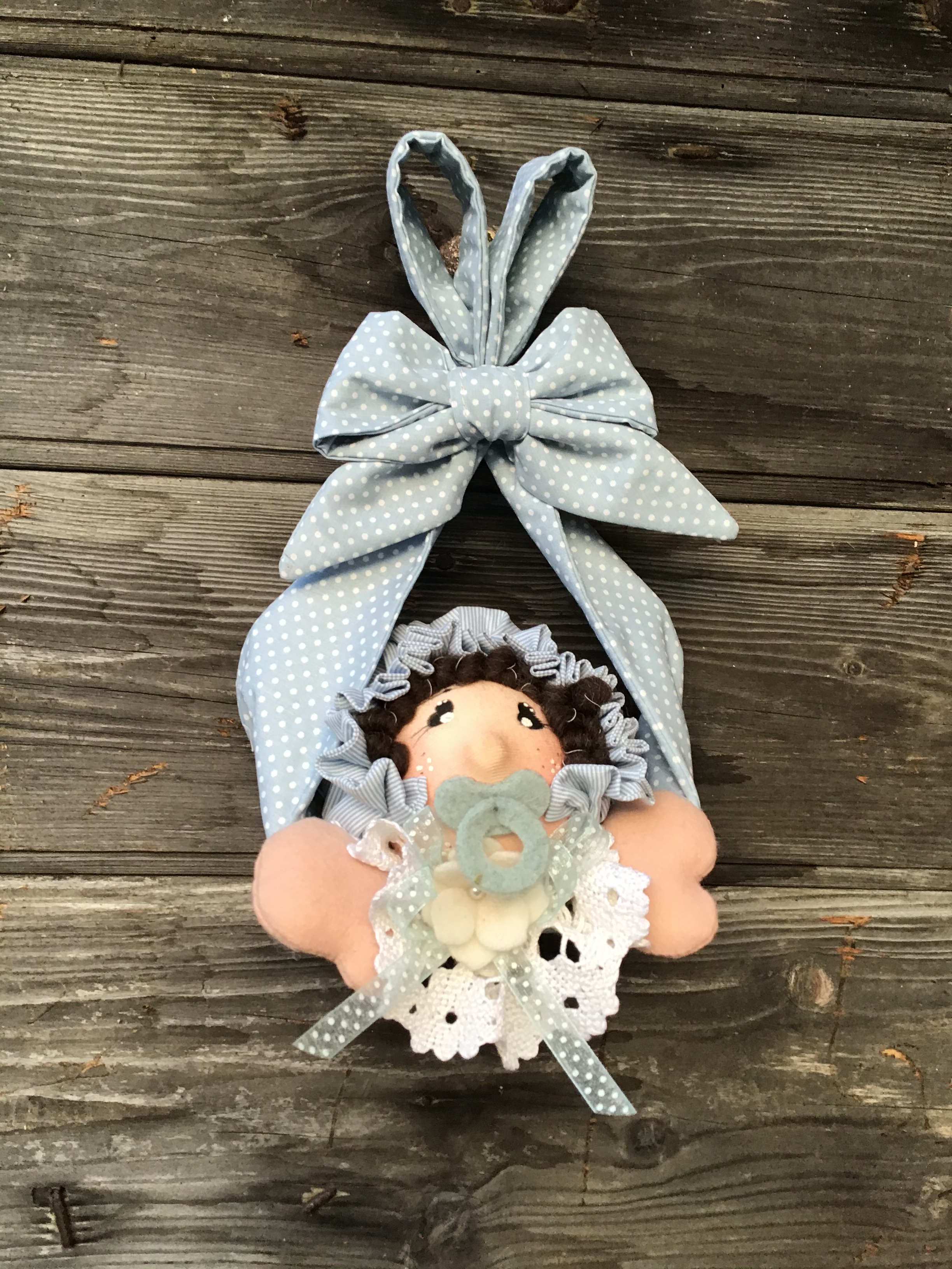 Kit fiocco nascita un sacco di bebè azzurro