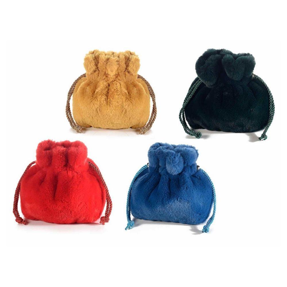 Borsa a sacchetto in morbido peluche con chiusura a tirante