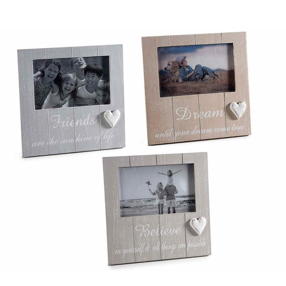 Portafoto in legno con decoro cuore da appoggiare