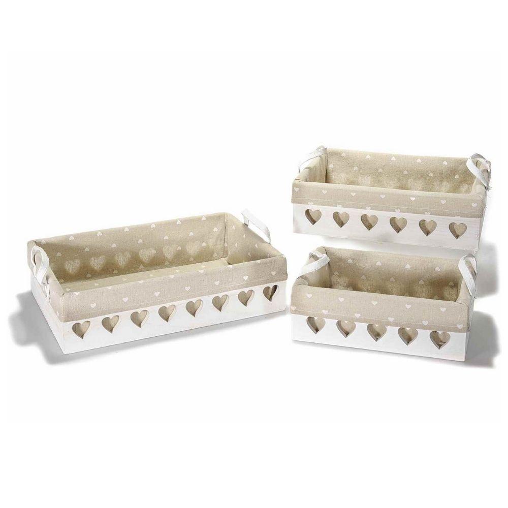 Set 3 cestini in legno bianco con intagli e stoffa a cuore
