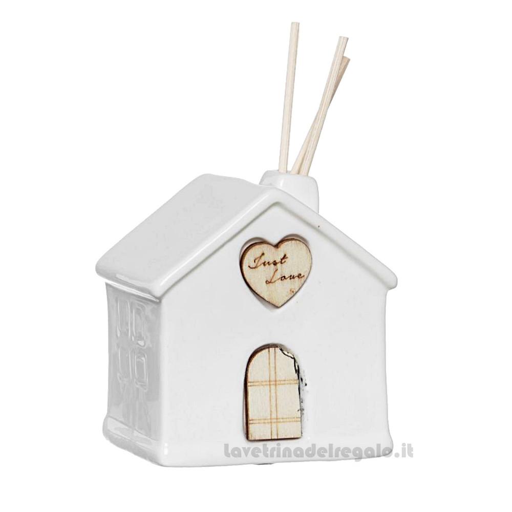 Profumatore Casetta con cuore in porcellana 8.5x6x9 cm - Bomboniera matrimonio