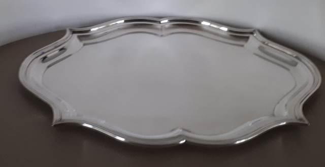 Vassoio in argento 800 in stile barocco 42 x 30 cm