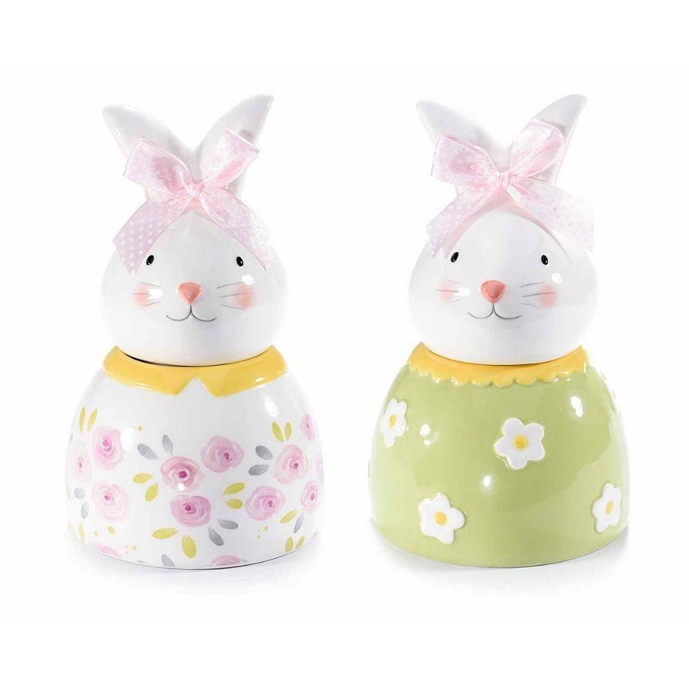 Contenitore a coniglio in ceramica lucida decorata