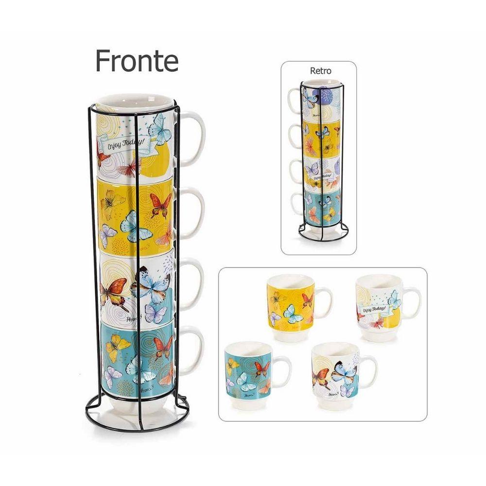Set 4 tazze in porcellana Farfalle in espositore in metallo