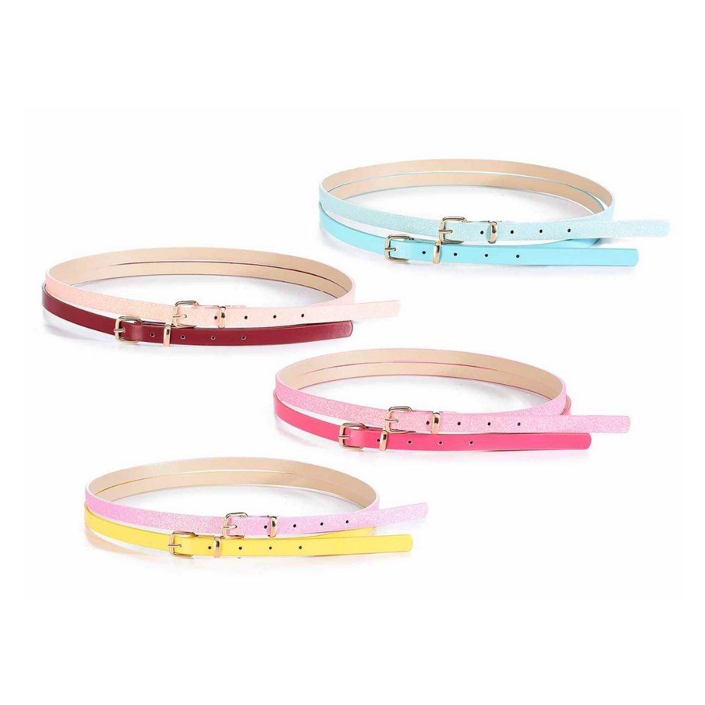 Set 2 cinturine in similpelle colorata lucida e glitter