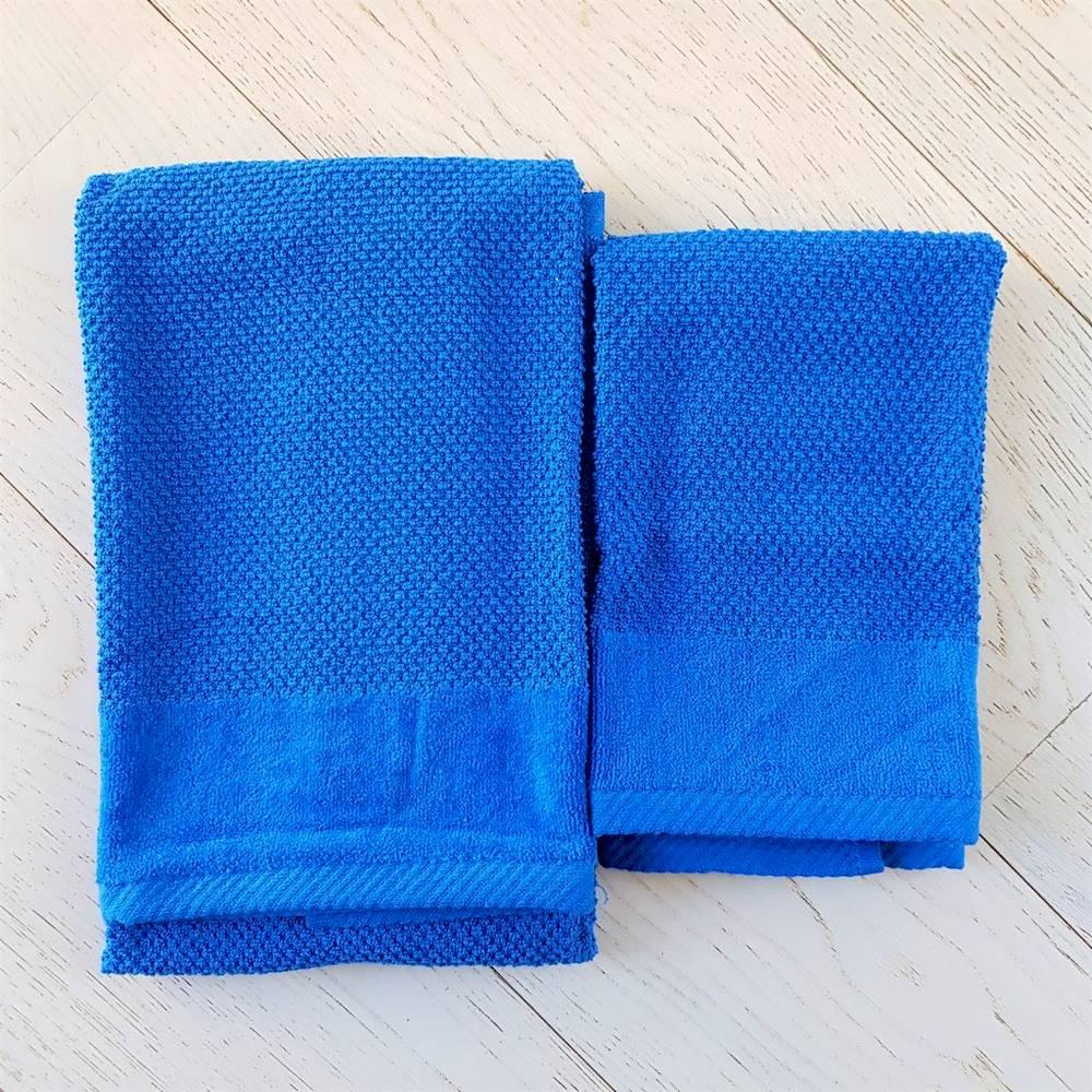 Coppia asciugamani chicco di riso e ciniglia blu